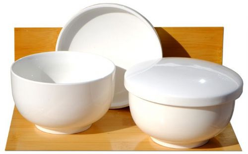 Mushi soup bowls white ceramic 11cm x 2